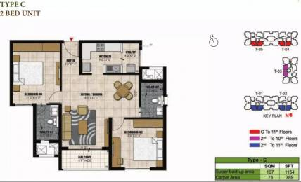 1154 sqft, 2 bhk Apartment in Prestige Willow Tree Vidyaranyapura, Bangalore at Rs. 72.6600 Lacs