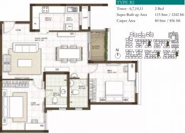 1242 sqft, 2 bhk Apartment in Prestige Courtyards Sholinganallur, Chennai at Rs. 61.2315 Lacs
