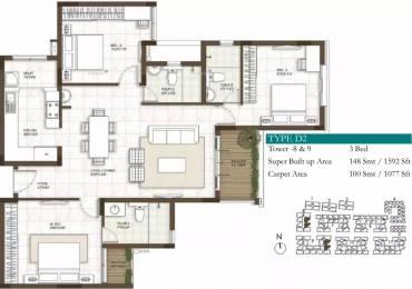 1592 sqft, 3 bhk Apartment in Prestige Courtyards Sholinganallur, Chennai at Rs. 78.8040 Lacs