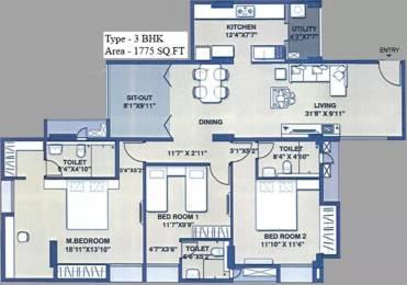 1775 sqft, 3 bhk Apartment in SPR Osian Chlorophyll Porur, Chennai at Rs. 1.3000 Cr