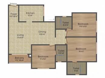 1603 sqft, 3 bhk Apartment in Prestige Hillside Gateway Kakkanad, Kochi at Rs. 76.0000 Lacs