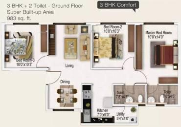 983 sqft, 3 bhk Apartment in Provident Provident Freedom Kelambakkam, Chennai at Rs. 35.9700 Lacs