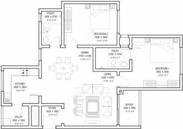 1336 sqft, 2 bhk Apartment in Sobha Meritta Kelambakkam, Chennai at Rs. 60.8700 Lacs