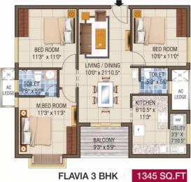 1345 sqft, 3 bhk Apartment in Alliance Galleria Residences Pallavaram, Chennai at Rs. 85.7200 Lacs
