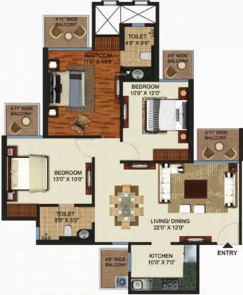 1380 sqft, 3 bhk Apartment in Prateek Grand Paeonia Pratap Vihar, Ghaziabad at Rs. 64.0000 Lacs