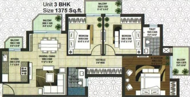 1375 sqft, 3 bhk Apartment in Rishita Manhattan Gomti Nagar Extension, Lucknow at Rs. 50.1300 Lacs
