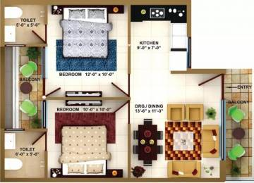 820 sqft, 2 bhk Apartment in Paradise Darpan Homz Darpan City, Mohali at Rs. 14.9000 Lacs