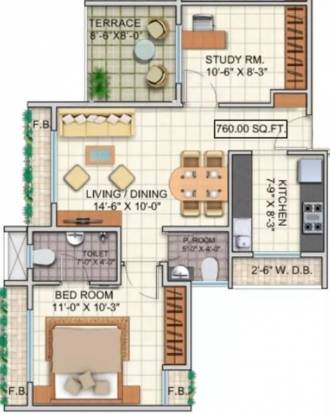 760 sqft, 1 bhk Apartment in Dheeraj Jade Residences Wagholi, Pune at Rs. 38.0000 Lacs