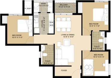 1221 sqft, 3 bhk Apartment in Lancor Lumina Guduvancheri, Chennai at Rs. 52.0000 Lacs