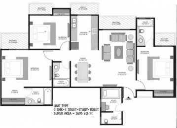 1695 sqft, 3 bhk Apartment in Ajnara Homes121 Sector 121, Noida at Rs. 85.0000 Lacs