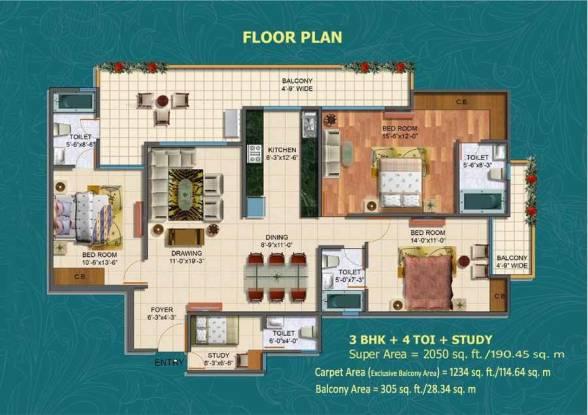 2050 sqft, 3 bhk Apartment in Maxblis Grand Kingston Sector 75, Noida at Rs. 94.3000 Lacs