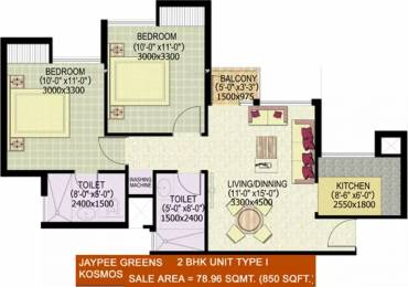 850 sqft, 2 bhk Apartment in Jaypee Kosmos Sector 134, Noida at Rs. 32.5100 Lacs