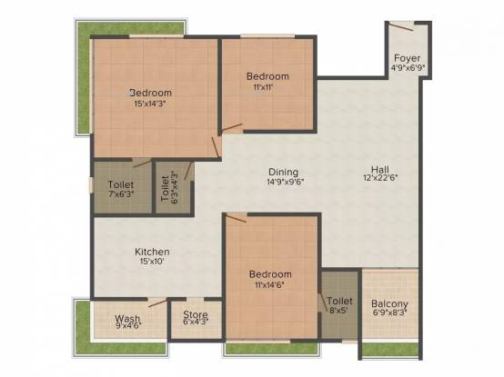 2380 sqft, 3 bhk Apartment in Raghuvir Star Galaxy Athwa, Surat at Rs. 1.0200 Cr