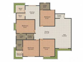2885 sqft, 4 bhk Apartment in Raghuvir Star Galaxy Athwa, Surat at Rs. 25000