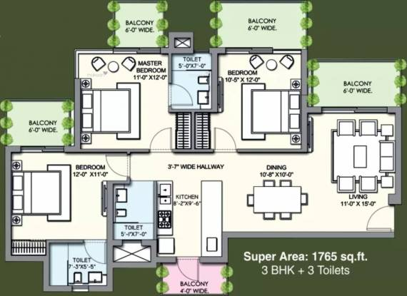 1765 sqft, 3 bhk Apartment in Supertech Hues Sector 68, Gurgaon at Rs. 1.1120 Cr