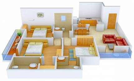 1450 sqft, 3 bhk Apartment in Omaxe Residency Gomti Nagar Extension, Lucknow at Rs. 19000