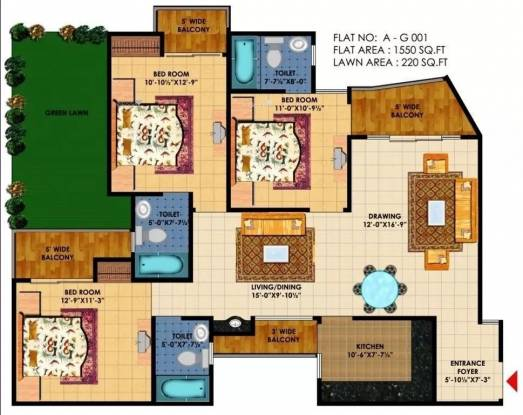 1550 sqft, 3 bhk Apartment in KDP Grand Savanna Raj Nagar Extension, Ghaziabad at Rs. 8000