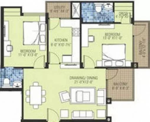 1029 sqft, 2 bhk Apartment in Ashadeep The Plam Shahjahanpur, Neemrana at Rs. 31.0000 Lacs
