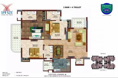 1805 sqft, 3 bhk Apartment in Spaze Privvy The Address Sector 93, Gurgaon at Rs. 75.0000 Lacs