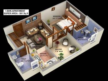 581 sqft, 1 bhk Apartment in Builder Project Motichur, Haridwar at Rs. 16.8500 Lacs