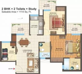 1114 sqft, 2 bhk Apartment in Nimbus Express Park View 2 CHI 5, Greater Noida at Rs. 9500