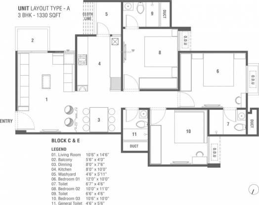 1330 sqft, 3 bhk Apartment in Sun South Park Bopal, Ahmedabad at Rs. 41.9000 Lacs
