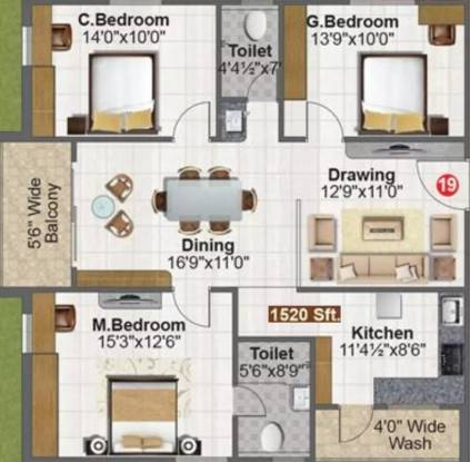 1520 sqft, 3 bhk Apartment in Fortune Green Falcon Puppalaguda, Hyderabad at Rs. 57.7600 Lacs