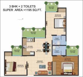 1195 sqft, 3 bhk Apartment in Builder Ajnara Le Garden Noida Extn, Noida at Rs. 40.1600 Lacs
