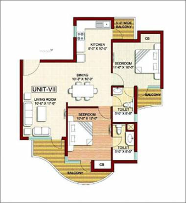 999 sqft, 2 bhk Apartment in Sikka Karmic Greens Sector 78, Noida at Rs. 51.2300 Lacs