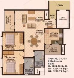 1260 sqft, 2 bhk Apartment in Sobha Sobha Ruby Dasarahalli on Tumkur Road, Bangalore at Rs. 18000