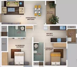 1075 sqft, 2 bhk Apartment in Mahendra Aarna Electronic City Phase 2, Bangalore at Rs. 60.0000 Lacs