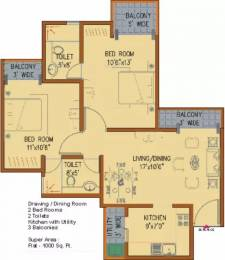 1000 sqft, 2 bhk Apartment in Amrapali Platinum Sector 119, Noida at Rs. 12500