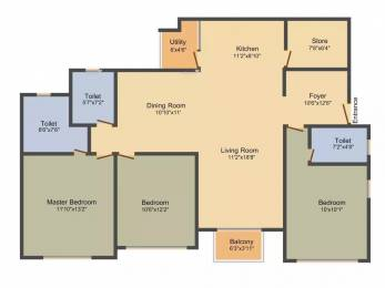 1850 sqft, 3 bhk Apartment in Adani The Meadows Near Vaishno Devi Circle On SG Highway, Ahmedabad at Rs. 20000