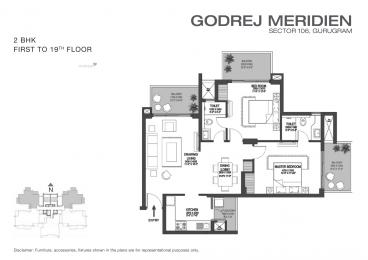 1366 sqft, 2 bhk Apartment in Godrej Meridien Sector 106, Gurgaon at Rs. 1.0600 Cr