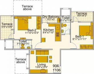 980 sqft, 2 bhk Apartment in Bunty Mayur Kilbil Phase 2 D Wing Dhanori, Pune at Rs. 54.0000 Lacs