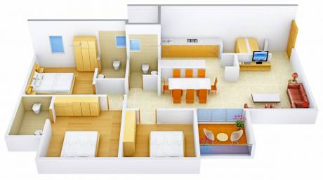 1800 sqft, 3 bhk Apartment in Tithi Satyamev Vista Gota, Ahmedabad at Rs. 82.0000 Lacs