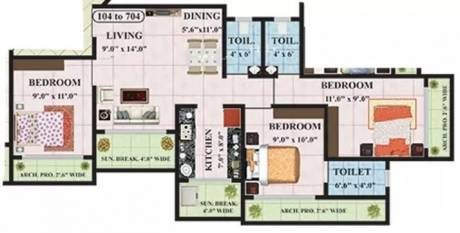 1165 sqft, 3 bhk Apartment in Kohinoor Maxciti Ambernath West, Mumbai at Rs. 10000