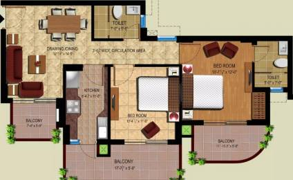 1045 sqft, 2 bhk Apartment in Ansal Royal Heritage Sector 70, Faridabad at Rs. 9000