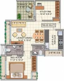 760 sqft, 1 bhk Apartment in Dheeraj Jade Residences Wagholi, Pune at Rs. 36.0000 Lacs