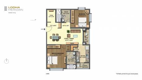 1278 sqft, 2 bhk Apartment in Lodha Meridian Kukatpally, Hyderabad at Rs. 1.1000 Cr