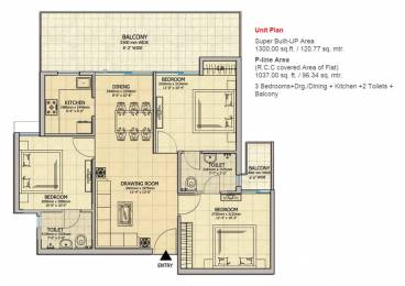 1300 sqft, 3 bhk Apartment in Gaursons Atulyam Omicron, Greater Noida at Rs. 38.9350 Lacs