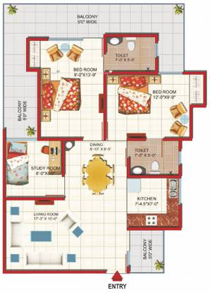 1231 sqft, 2 bhk Apartment in Gaursons Green Vista Nyay Khand, Ghaziabad at Rs. 15000