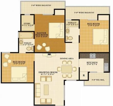 1600 sqft, 3 bhk Apartment in Nirala Eden Park II Ahinsa Khand 2, Ghaziabad at Rs. 16000