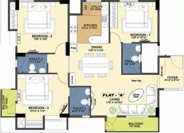 1686 sqft, 3 bhk Apartment in Ramaniyam Ocean Dew Madipakkam, Chennai at Rs. 1.2500 Cr