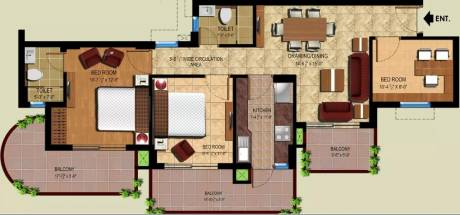 1265 sqft, 2 bhk Apartment in Ansal Royal Heritage Sector 70, Faridabad at Rs. 9000