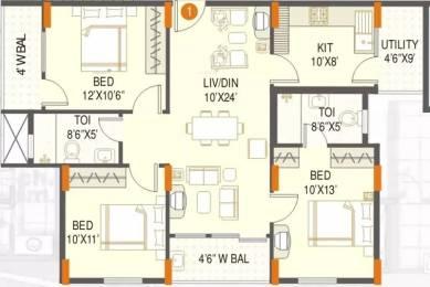 1330 sqft, 3 bhk Apartment in SMR Vinay Meenakshi Gottigere, Bangalore at Rs. 85.0000 Lacs