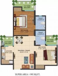 995 sqft, 2 bhk Apartment in Ajnara LeGarden Sector 16 Noida Extension, Greater Noida at Rs. 8000