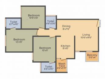 1330 sqft, 3 bhk Apartment in Sun South Park Bopal, Ahmedabad at Rs. 50.0000 Lacs