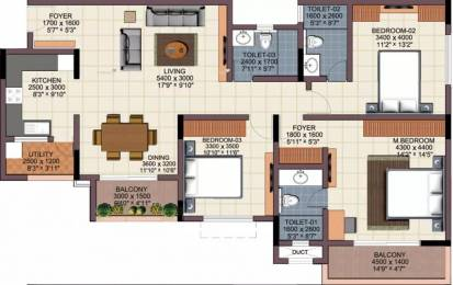 1740 sqft, 3 bhk Apartment in Renaissance Woods Jalahalli, Bangalore at Rs. 28000