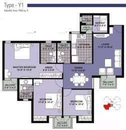 1560 sqft, 3 bhk Apartment in Unitech Vistas Sector 70, Gurgaon at Rs. 77.0000 Lacs